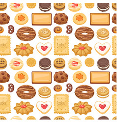 different cookie cake isolated seamless vector image vector image