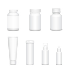 Medicine blank white bottles set for sprays and vector image vector image