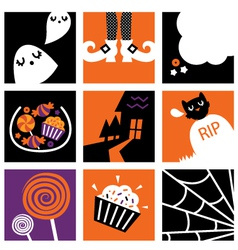 Nine halloween square icons vector image vector image