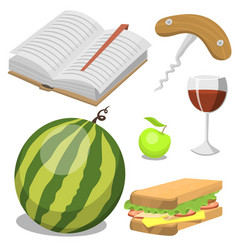 picnic basket with food relaxation vacation vector image vector image