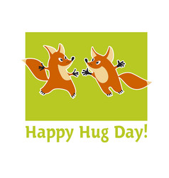 two cute fox animal mascot hugging vector image vector image