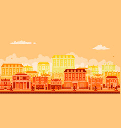 urban avenue scene with smart townhouses vector image
