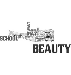 beauty schools should you attend one text word vector image