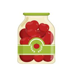 cartoon glass jar of red marinated tomatoes bank vector image