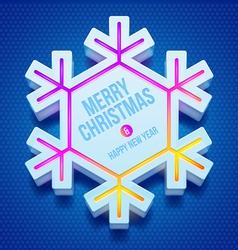 Christmas three-dimensional snowflake vector image vector image