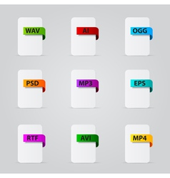 Set of file extension detailed icons vector image