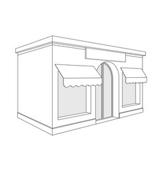 store front small shop with large window and vector image