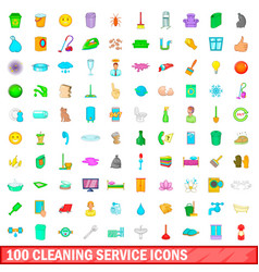 100 cleaning service icons set cartoon style vector image