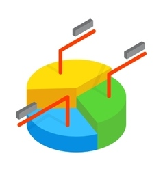 Business pie chart icon isometric 3d style vector image vector image