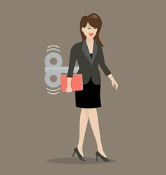 Business woman with wind up key in her back vector image vector image