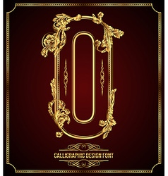 Calligraphic font letter o vector