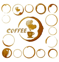 coffee cup stains Coffee blots isolated on white vector image