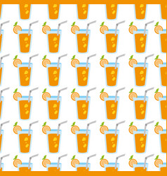 colorful pattern with cocktail drinks with lemon vector image