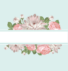 Floral card template with empty frame vector