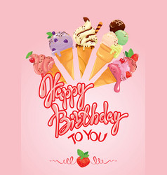 greeting card with ice cream cones on pink vector image vector image