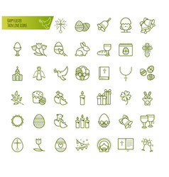 Happy easter thin line icons set modern vector