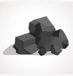 Cartoon black coal stacked pile vector