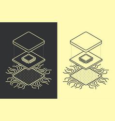 line art microchip central processor unit concept vector image