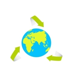 The Earth surrounded by the recycle symbol- vector image vector image