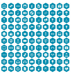 100 video icons sapphirine violet vector image