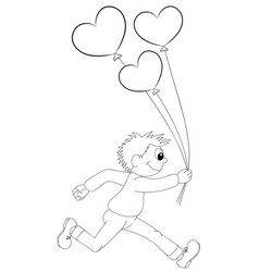 a cartoon boy running with balloons in the form vector image