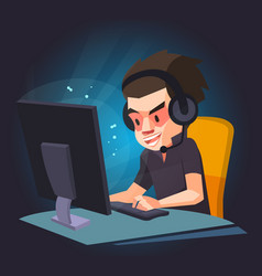 a man play the computer gamegamer vector image