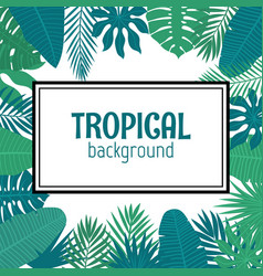 Abstract background with tropical leaves in frame vector
