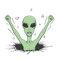 Angry alien knock wall out space vector