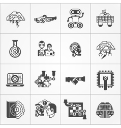 Artificial Intelligence Black White Icons Set vector
