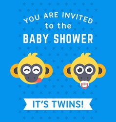 Baby shower invitation card template with two vector