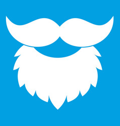 Beard and mustache icon white vector