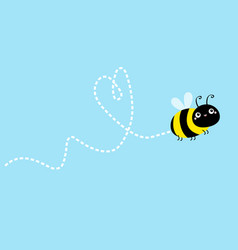 Bee icon dash line heart flying insect collection vector