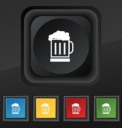 Beer glass icon symbol Set of five colorful vector image