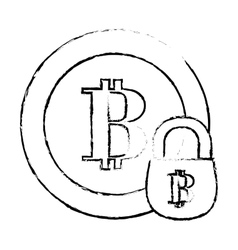bitcoin secure digital money symbol vector image