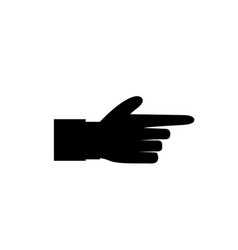 black icon silhouette of pointing aside finger vector image