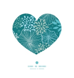 Blue and gray plants heart silhouette pattern vector