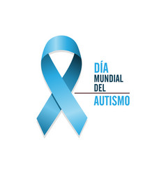blue autism ribbon with spanish text vector image