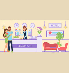 boy and girl accommodated in hotel vector image