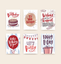 Bundle of birthday greeting card postcard or vector