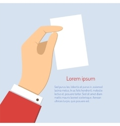 Business man holding vertical visit card vector