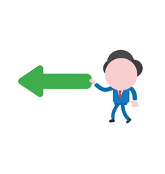 Businessman character walking and holding arrow vector