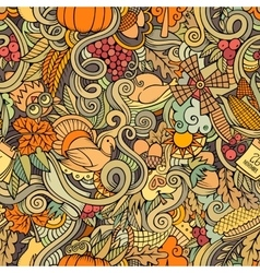 Cartoon cute doodles hand drawn Thanksgiving vector image
