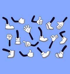 Cartoon legs and hands comic character gloved arm vector