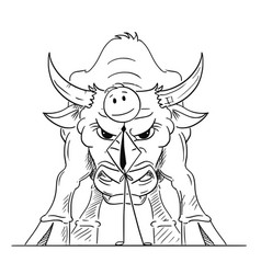 Cartoon of businessman standing with bull behind vector