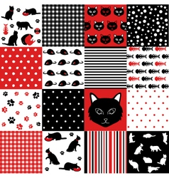 Cat scrapbooking paper set vector
