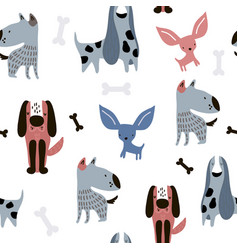 childish seamless pattern with funny creative dogs vector image