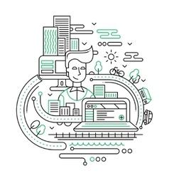City lifestyle composition - line design vector image