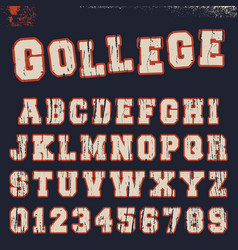 college alphabet font template vector image