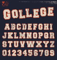 College alphabet font template vector