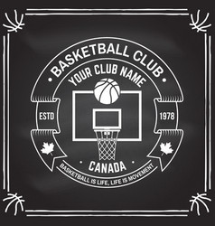 College basketball club badge on the chalkboard vector
